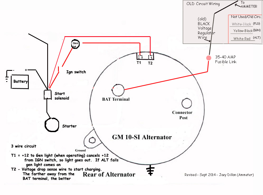 3 wire 140 amp alternator wiring diagram simple wiring schemachevy 100 amp  alternator 3 wire diagram