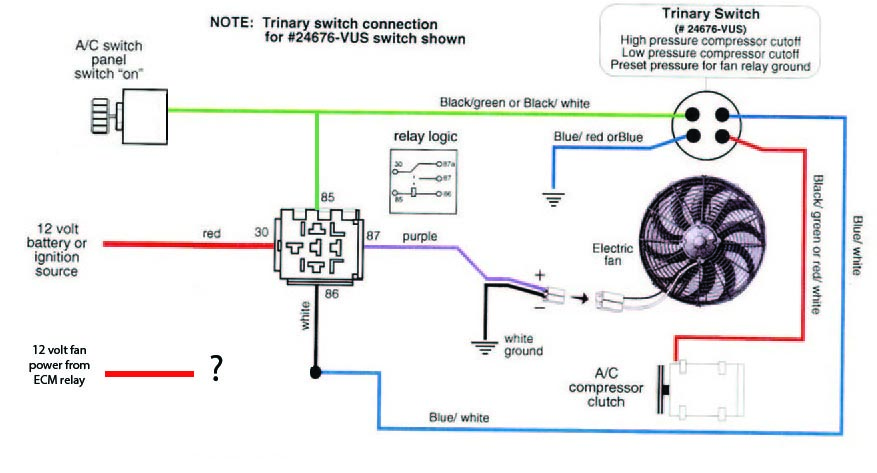 Wiring 2 sources (engine and AC) to one cooling fan on